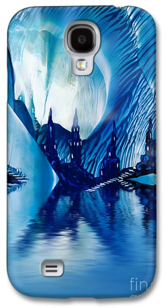 Dreamscape Galaxy S4 Cases - Subterranean Castles wax painting in blue Galaxy S4 Case by Simon Bratt Photography LRPS