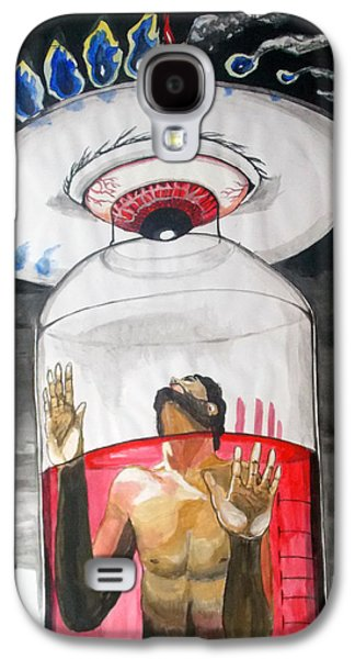 Jail Paintings Galaxy S4 Cases - Suffocation Of The Consciousness  Listen With Music Of The Description Box Galaxy S4 Case by Lazaro Hurtado