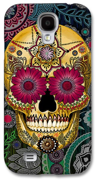 Sugar Skull Paisley Garden - Copyrighted Galaxy S4 Case by Christopher Beikmann