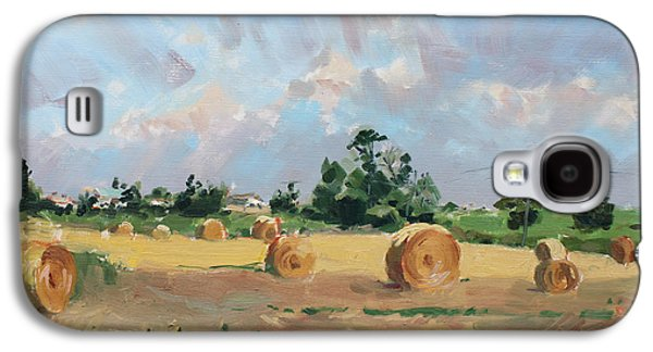 Hay Paintings Galaxy S4 Cases - Summer Fields in Georgetown ON Galaxy S4 Case by Ylli Haruni