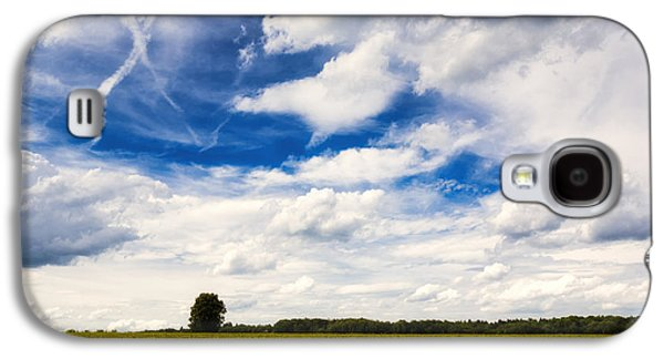 Sky Blue Galaxy S4 Cases - Summer landscape with cornfield blue sky and clouds on a warm summer day Galaxy S4 Case by Matthias Hauser
