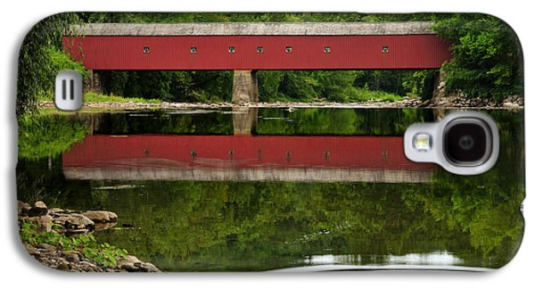 Small Towns Galaxy S4 Cases - Summer Reflections at West Cornwall Covered Bridge Galaxy S4 Case by Thomas Schoeller