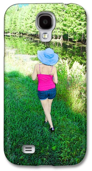 Sun Mixed Media Galaxy S4 Cases - Summer Stroll In The Park - Art by Sharon Cummings Galaxy S4 Case by Sharon Cummings