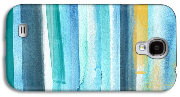 Yellow Line Galaxy S4 Cases - Summer Surf- Abstract Painting Galaxy S4 Case by Linda Woods