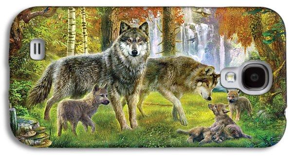 Digital Galaxy S4 Cases - Summer Wolf Family Galaxy S4 Case by Jan Patrik Krasny