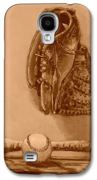 Baseball Glove Paintings Galaxy S4 Cases - Summers Game Galaxy S4 Case by Bill Tomsa