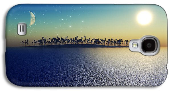 Beach Landscape Digital Galaxy S4 Cases - Sun And Moon Galaxy S4 Case by Aleksey Tugolukov