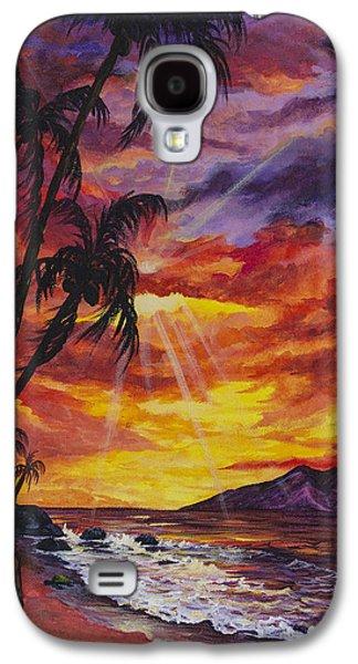 Sun Rays Paintings Galaxy S4 Cases - Sun Burst Galaxy S4 Case by Darice Machel McGuire