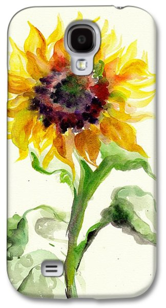 Installation Art Galaxy S4 Cases - Sunflower Watercolor Galaxy S4 Case by Tiberiu Soos