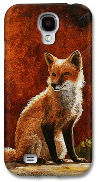 Dog Paintings Galaxy S4 Cases - Sun Fox Galaxy S4 Case by Crista Forest