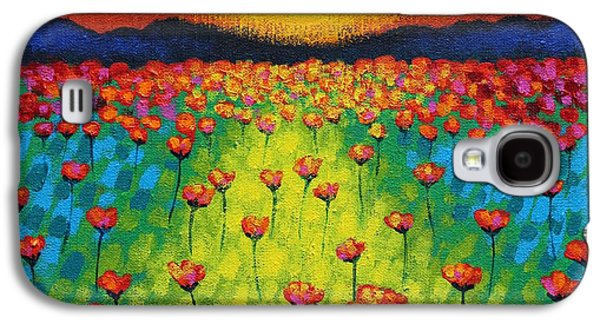 Perspective Paintings Galaxy S4 Cases - Sunburst Poppies Galaxy S4 Case by John  Nolan