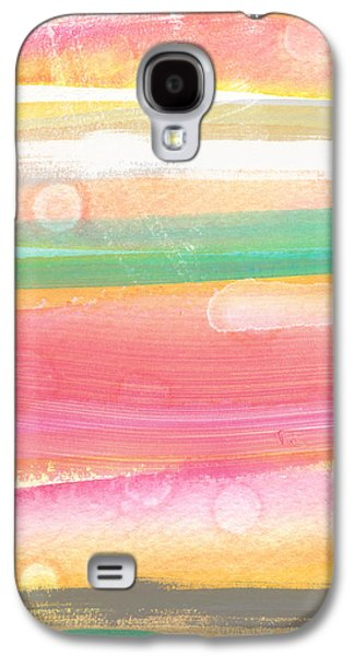 Stripes Mixed Media Galaxy S4 Cases - Sunday In The Park- contemporary abstract painting Galaxy S4 Case by Linda Woods