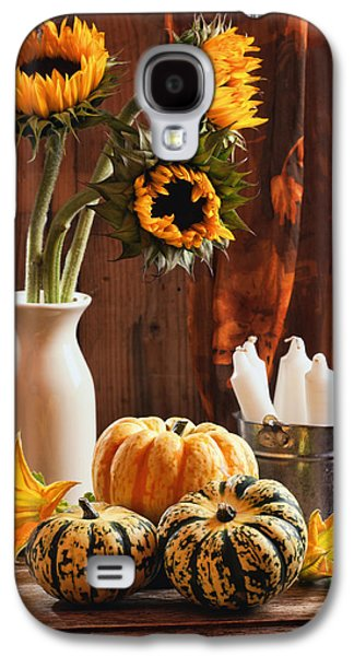 Interior Still Life Photographs Galaxy S4 Cases - Sunflower and Gourds Still Life Galaxy S4 Case by Amanda And Christopher Elwell