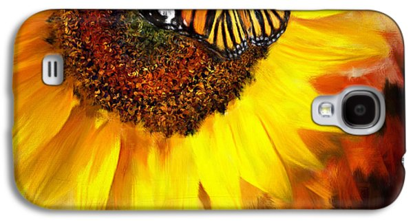 Sunflower Paintings Galaxy S4 Cases - Sunflower And Butterfly Painting Galaxy S4 Case by Lourry Legarde