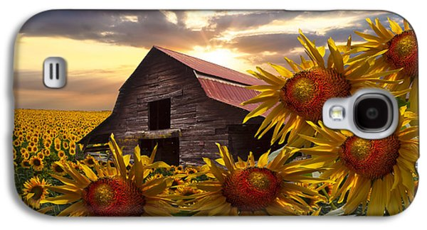 Tennessee Farm Galaxy S4 Cases - Sunflower Dance Galaxy S4 Case by Debra and Dave Vanderlaan
