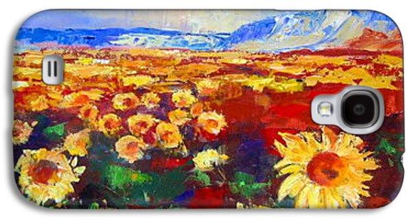 Sunflower Fields Galaxy S4 Cases - Sunflower Field Galaxy S4 Case by Elise Palmigiani
