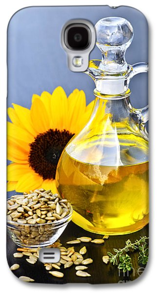 Decanters Galaxy S4 Cases - Sunflower oil bottle Galaxy S4 Case by Elena Elisseeva