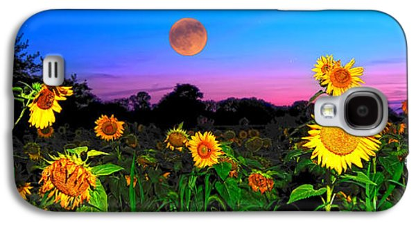 Sunflower Patch Galaxy S4 Cases - Sunflower Patch and Moon  Galaxy S4 Case by Randall Branham
