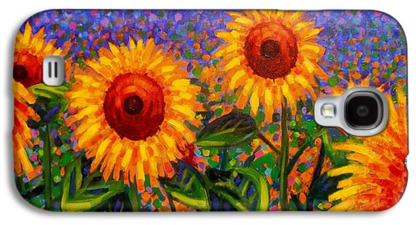 Wine Canvas Paintings Galaxy S4 Cases - SunFlower Scape Galaxy S4 Case by John  Nolan