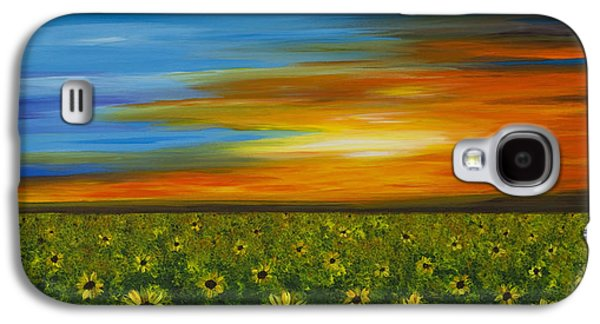 Sunflower Patch Galaxy S4 Cases - Sunflower Sunset - Flower Art By Sharon Cummings Galaxy S4 Case by Sharon Cummings