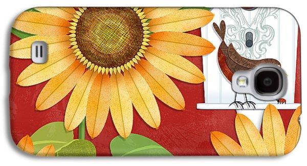 Garden Scene Galaxy S4 Cases - Sunflower Surprise Galaxy S4 Case by Valerie   Drake Lesiak