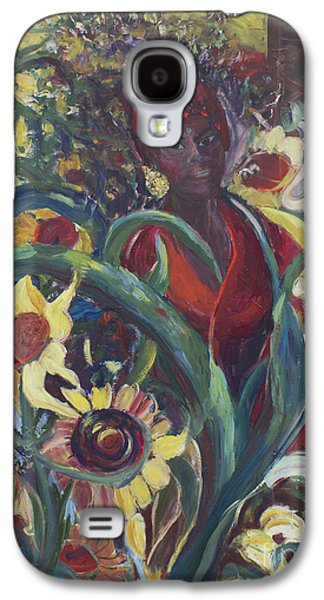 Sunflower Patch Galaxy S4 Cases - Sunflower Woman #1 Galaxy S4 Case by Avonelle Kelsey