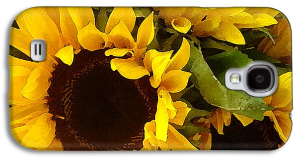 Green Modern Galaxy S4 Cases - Sunflowers Galaxy S4 Case by Amy Vangsgard