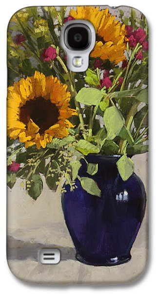 Still Life Pastels Galaxy S4 Cases - Sunflowers and Clover Galaxy S4 Case by Sarah Blumenschein