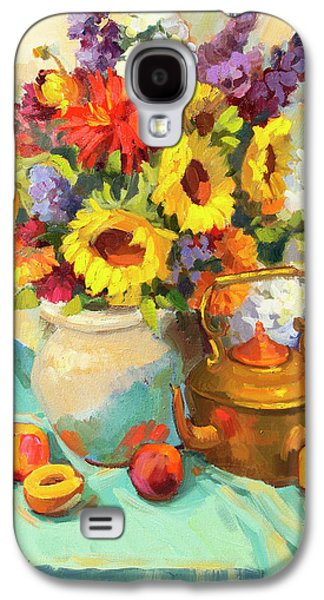 Pottery Paintings Galaxy S4 Cases - Sunflowers and Copper Galaxy S4 Case by Diane McClary