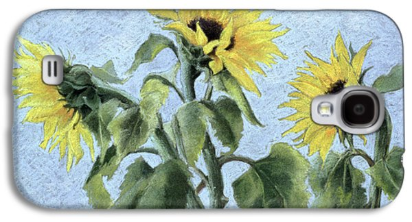 Blue Pastels Galaxy S4 Cases - Sunflowers Galaxy S4 Case by Cristiana Angelini