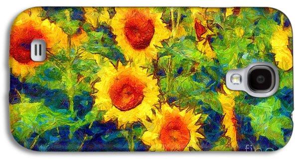 Sun Galaxy S4 Cases - Sunflowers Dance in a field Galaxy S4 Case by Janine Riley
