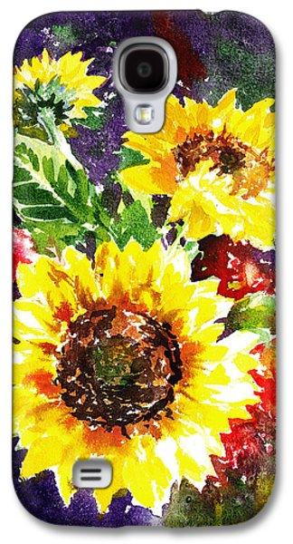 Sunflower Paintings Galaxy S4 Cases - Sunflowers Impressionism Galaxy S4 Case by Irina Sztukowski