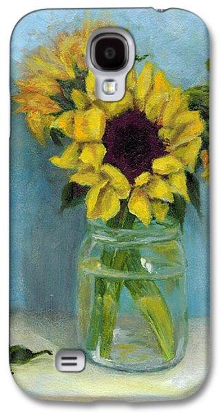 Water Jars Paintings Galaxy S4 Cases - Sunflowers in Mason Jar Galaxy S4 Case by Sandra Nardone