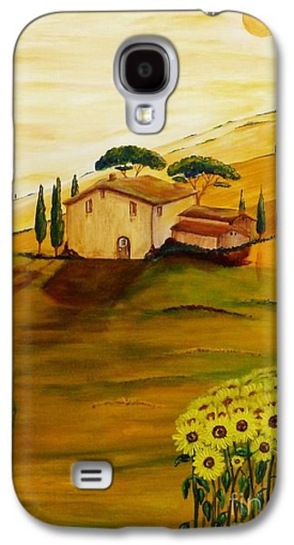 Tuscan Sunset Paintings Galaxy S4 Cases - Sunflowers in Tuscany Galaxy S4 Case by Christine Huwer