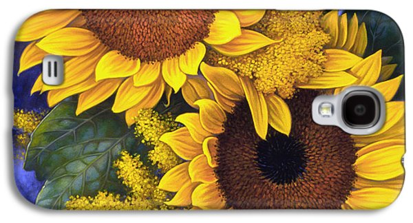Botanical Galaxy S4 Cases - Sunflowers Galaxy S4 Case by Mia Tavonatti