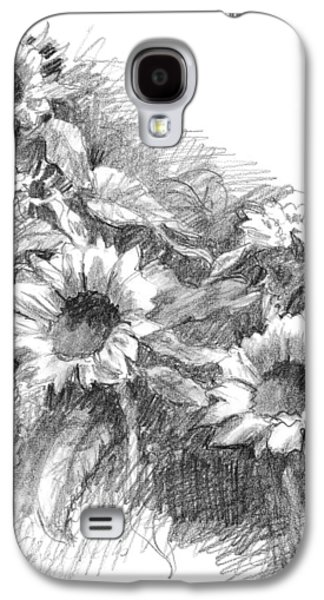 Interior Still Life Drawings Galaxy S4 Cases - Sunflowers Galaxy S4 Case by Sarah Parks