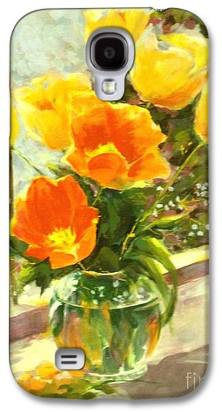 Midday Paintings Galaxy S4 Cases - Sunlit Tulips Galaxy S4 Case by Madeleine Holzberg