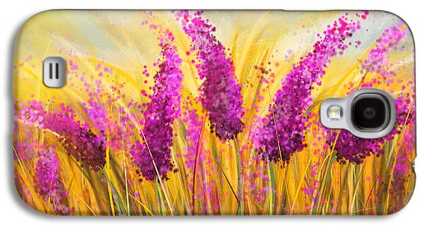 Sunset Abstract Galaxy S4 Cases - Sunny Lavender Field - Impressionist Galaxy S4 Case by Lourry Legarde