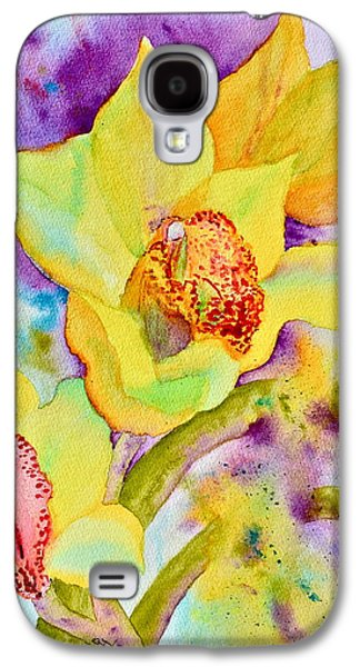 Splashy Paintings Galaxy S4 Cases - Sunny Splash of Orchids Galaxy S4 Case by Beverley Harper Tinsley