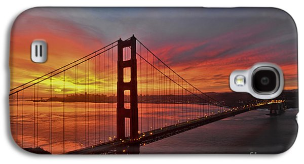 Architecture Acrylic Prints Galaxy S4 Cases - Sunrise over the Golden Gate Bridge  Galaxy S4 Case by Peter Dang