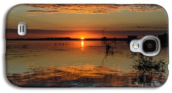 Waterscape Pyrography Galaxy S4 Cases - Sunrise in Danube Delta Galaxy S4 Case by Attila Simon