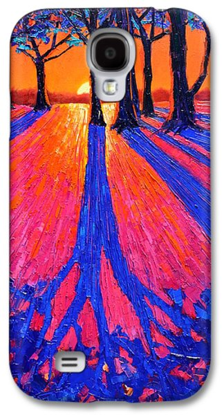 Abstracts Galaxy S4 Cases - Sunrise In Glory - Long Shadows Of Trees At Dawn Galaxy S4 Case by Ana Maria Edulescu