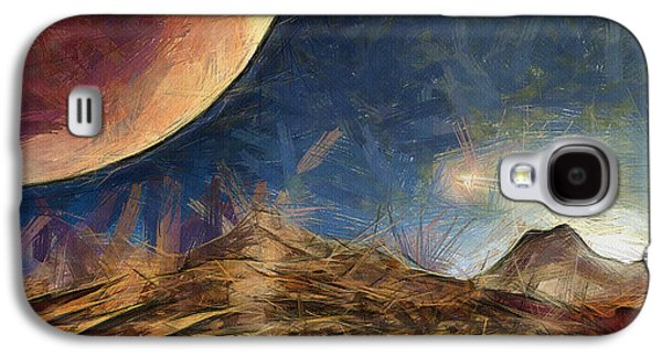 Science Fiction Drawings Galaxy S4 Cases - Sunrise on Space Galaxy S4 Case by Ayse Deniz