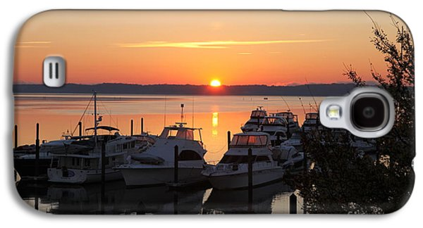 Transportation Pyrography Galaxy S4 Cases - Sunrise on the Water Galaxy S4 Case by JM Roy