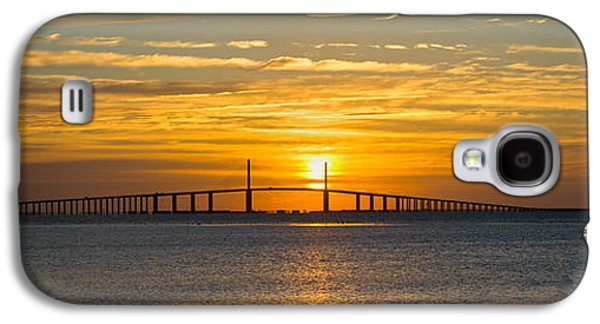 Sunshine Skyway Bridge Galaxy S4 Cases - Sunrise Over Sunshine Skyway Bridge Galaxy S4 Case by Panoramic Images