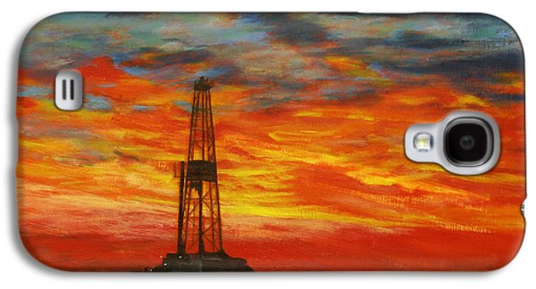 Field Paintings Galaxy S4 Cases - Sunrise Rig Galaxy S4 Case by Karen  Peterson