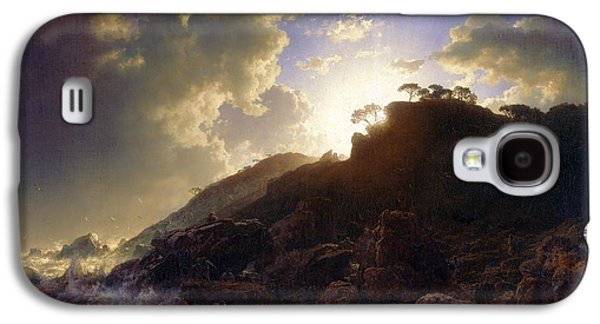 Sicily Paintings Galaxy S4 Cases - Sunset after a Storm on the Coast of Sicily Galaxy S4 Case by Celestial Images