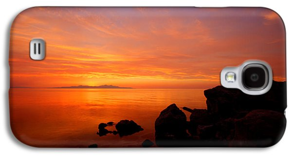 Beach Landscape Galaxy S4 Cases - Sunset and Fire Galaxy S4 Case by Chad Dutson
