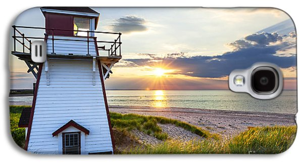 Atlantic Beaches Galaxy S4 Cases - Sunset at Covehead Harbour Lighthouse Galaxy S4 Case by Elena Elisseeva