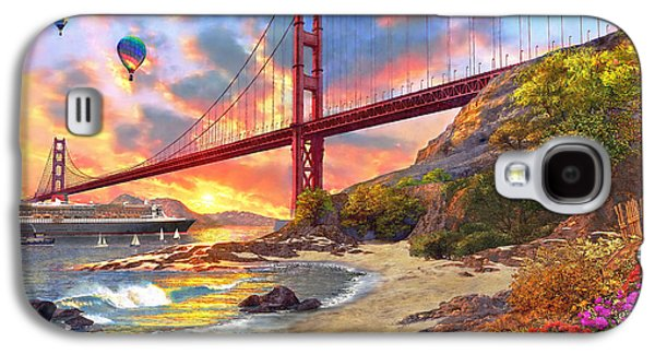 Bridge Galaxy S4 Cases - Sunset at Golden Gate Galaxy S4 Case by Dominic Davison